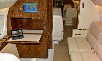 Private conference rooms for corporate charter flights